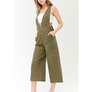 NEW Forever 21 Pinstriped Plunging Jumpsuit